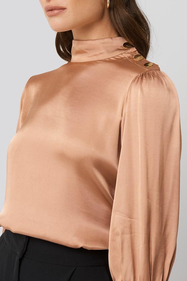 Button Shoulder Detailed Blouse Powder Pink