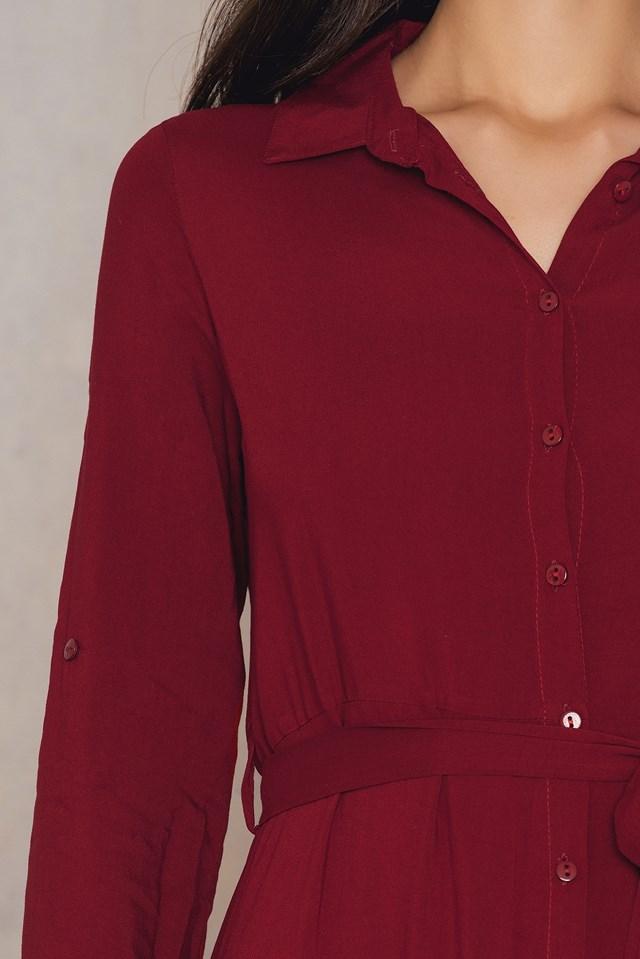 Button Sleeve Shirt Dress NA-KD.COM