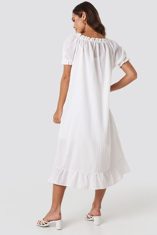 Button Striped Detailed Midi Dress White