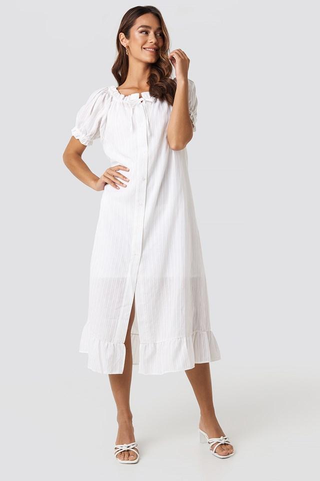 Button Striped Detailed Midi Dress White