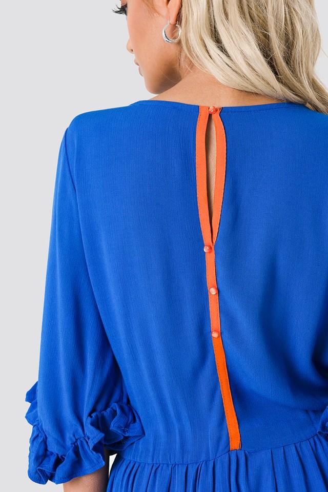 Buttoned Back Midi Dress Indigo