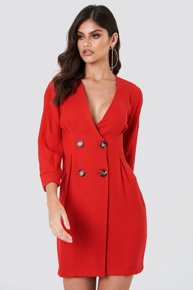 Buttoned Blazer Dress Red