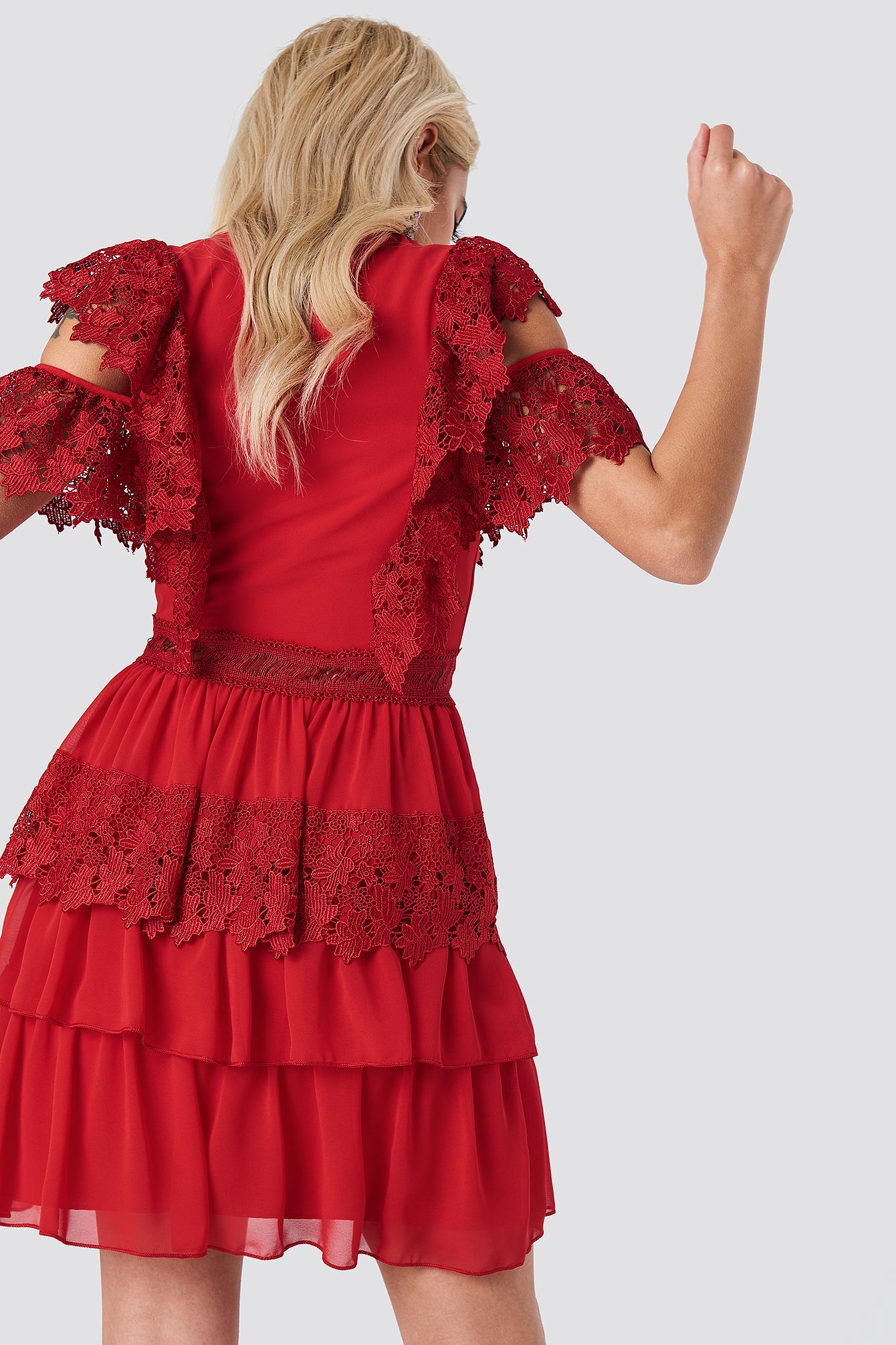 Buttoned Lace Mini Dress NA-KD.COM