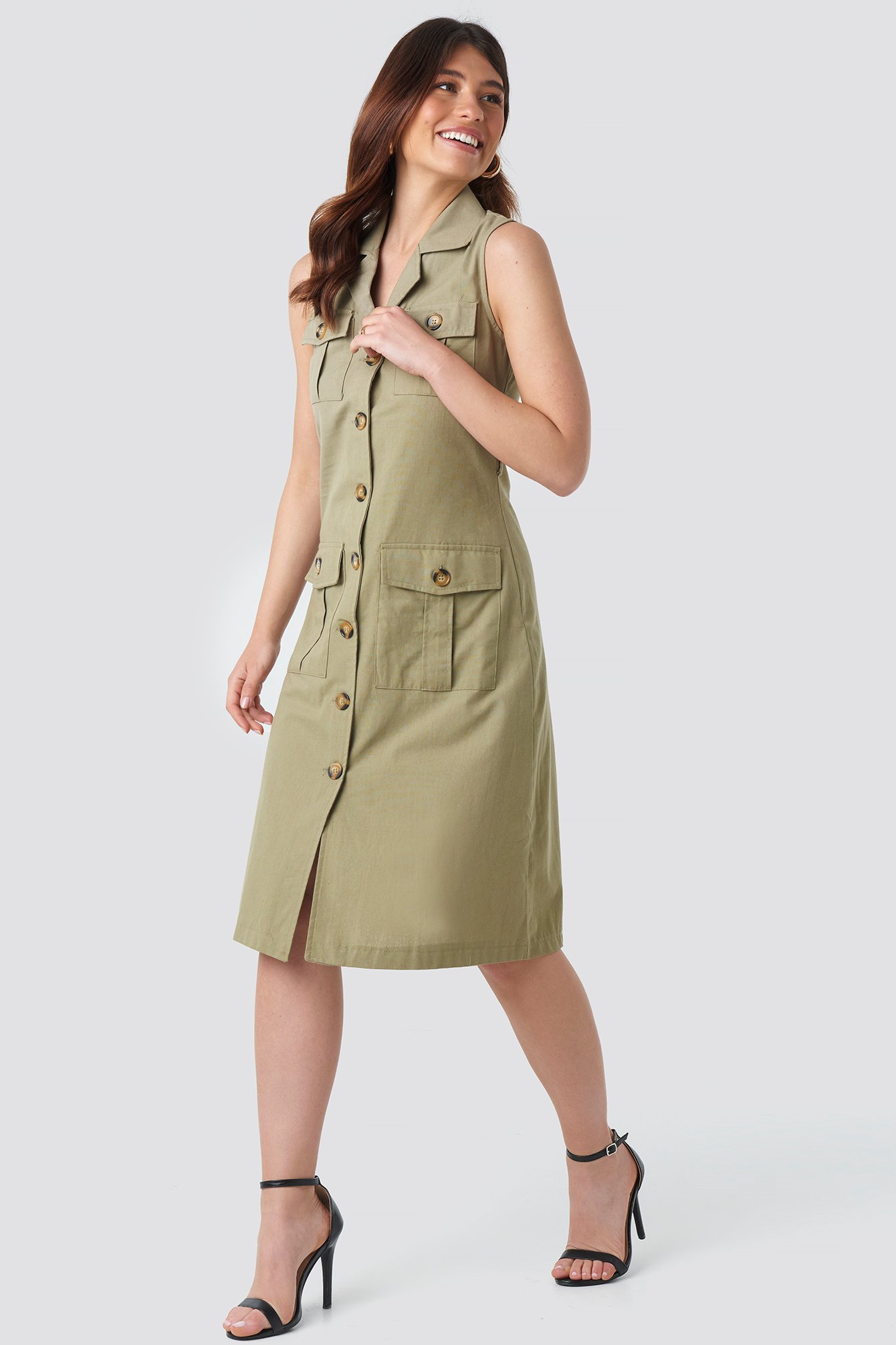 Trendyol Buttoned Linen Dress - Green