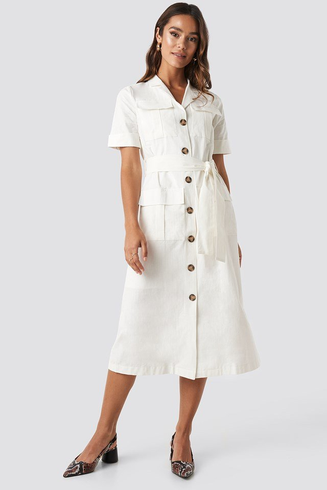 Buttoned Midi Dress White