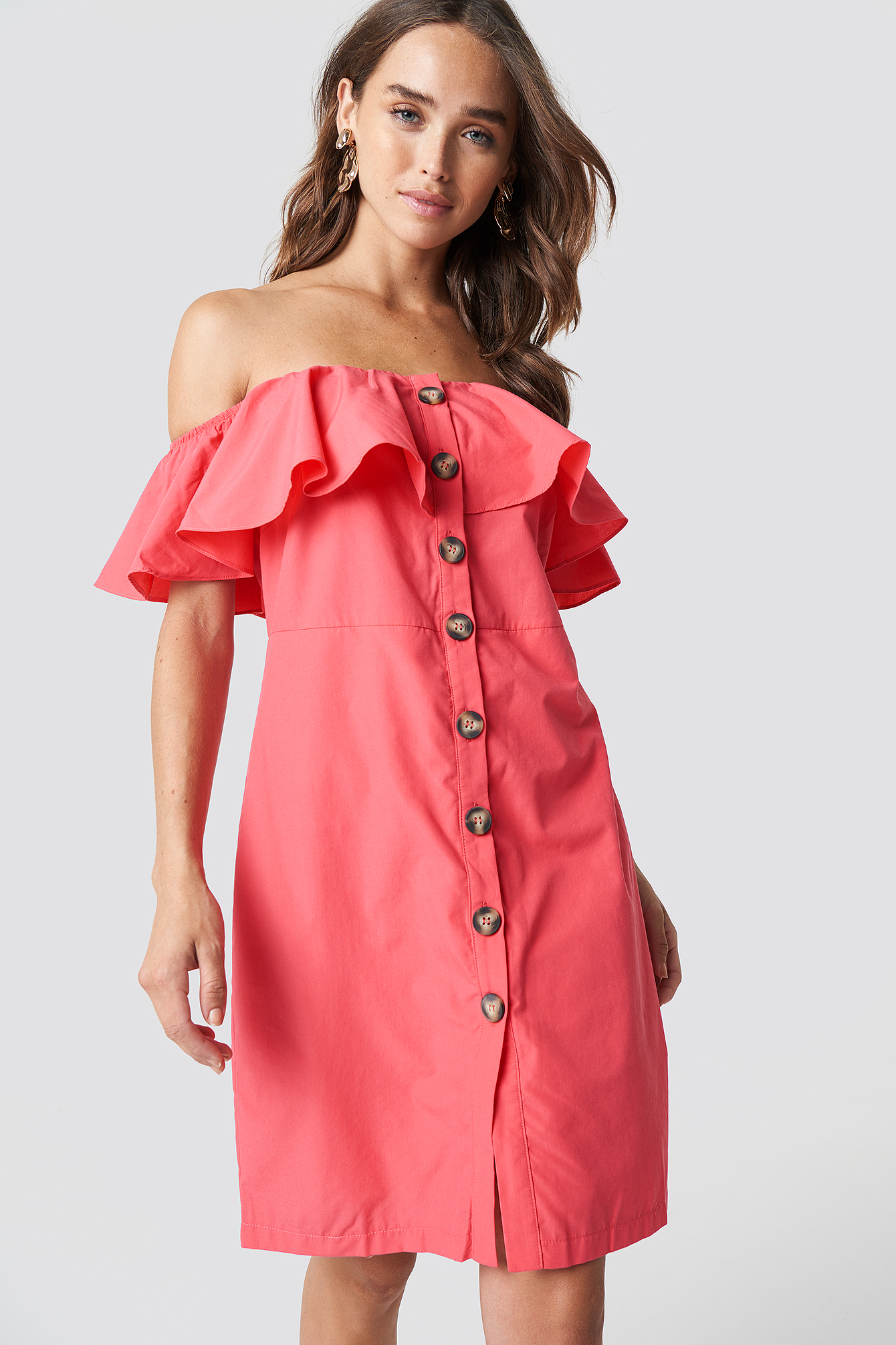 trendyol -  Buttoned Off Shoulder Midi Dress - Pink