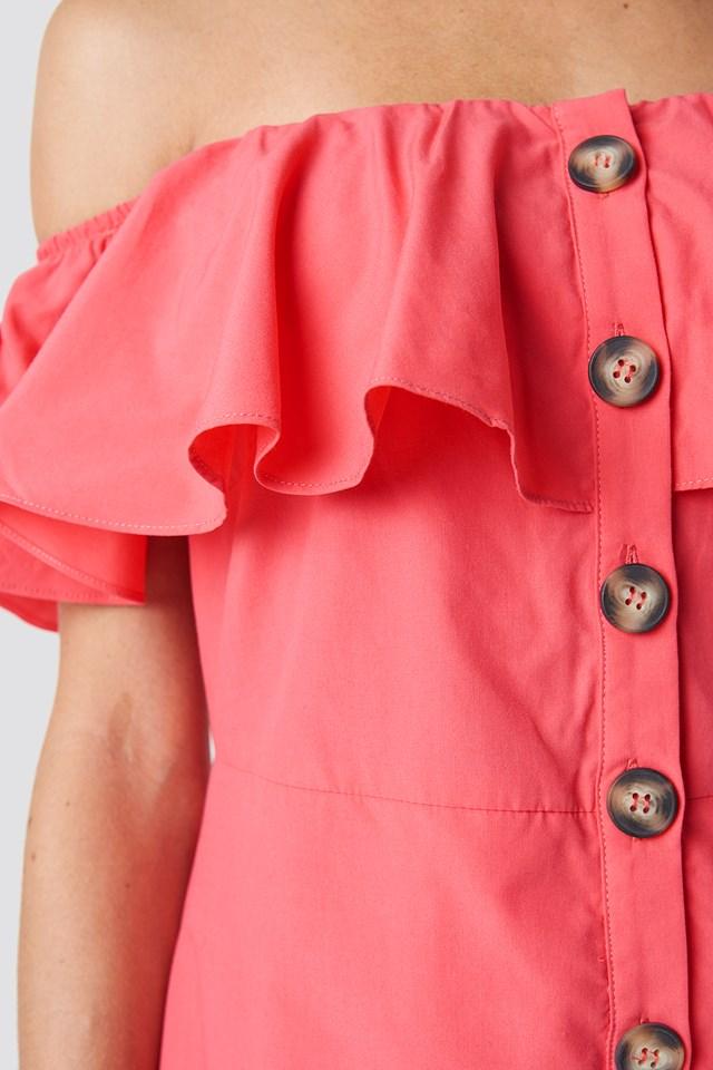 Buttoned Off Shoulder Midi Dress Vermilion