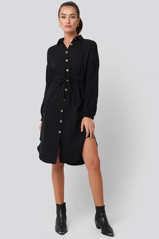 Buttoned Shirt Dress Black