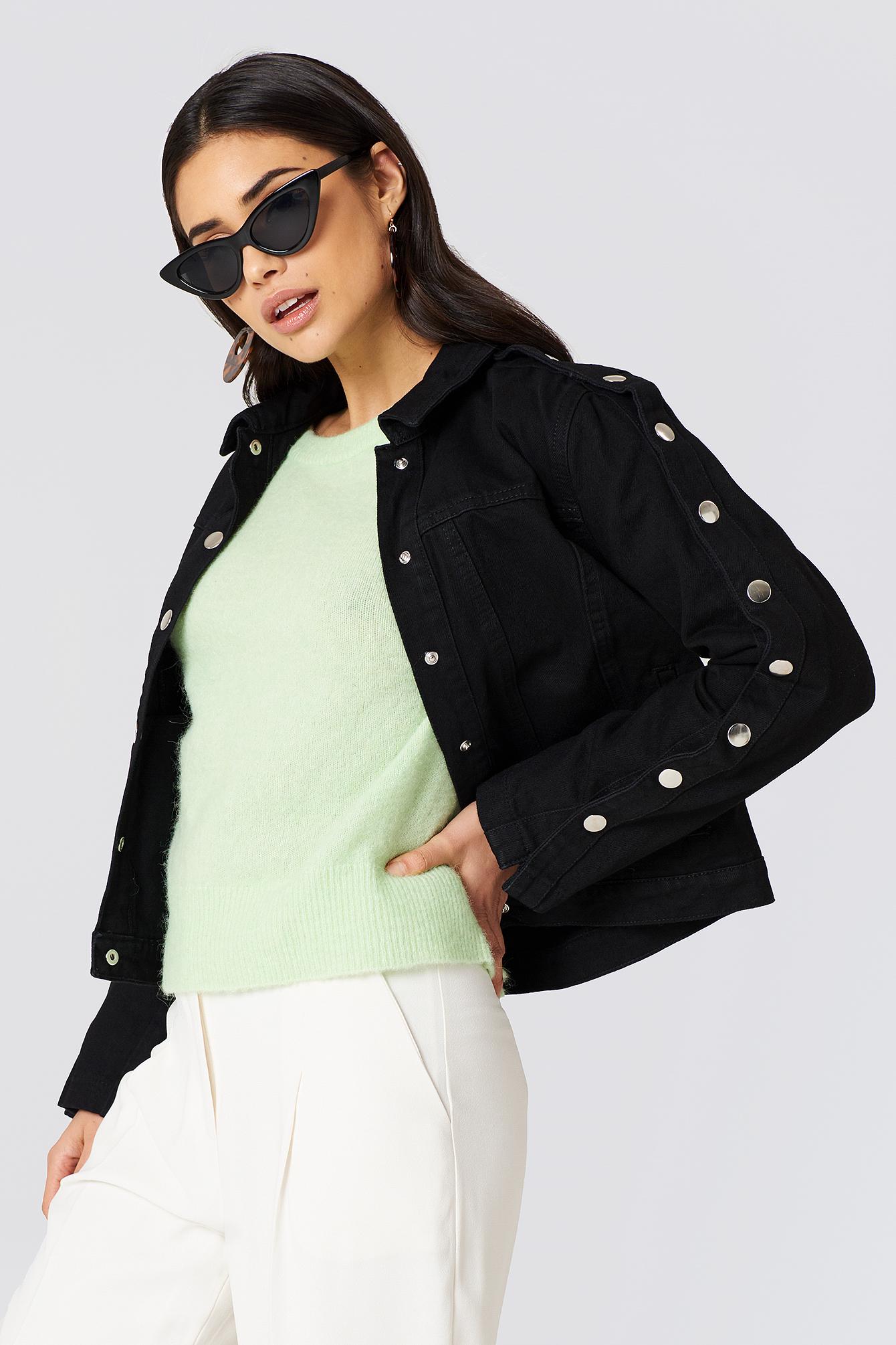 Buttoned Sleeve Denim Jacket NA-KD.COM