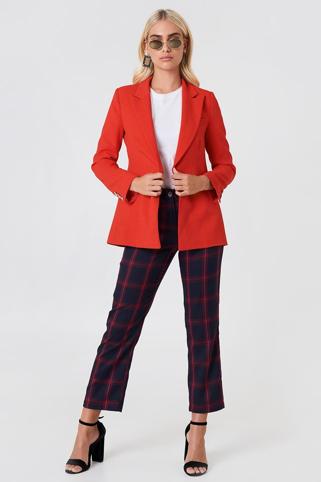 Buttoned Sleeve Jacket Red