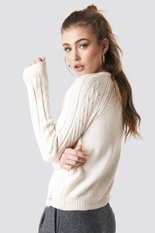 Cable Knitted Jumper Ecru