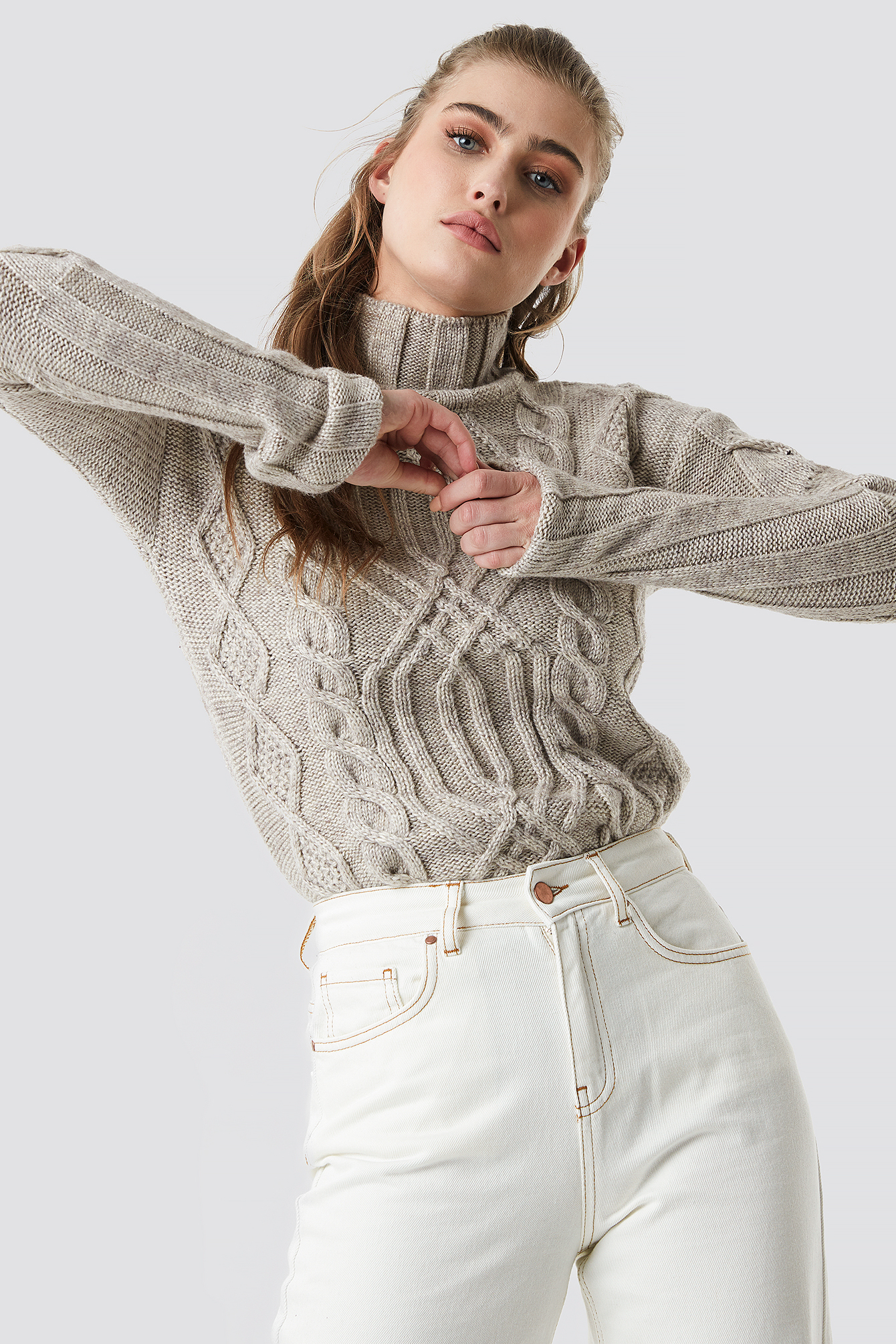 Cable Knitted Polo Sweater NA-KD.COM