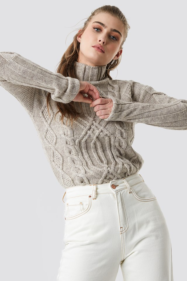 Cable Knitted Polo Sweater Trendyol