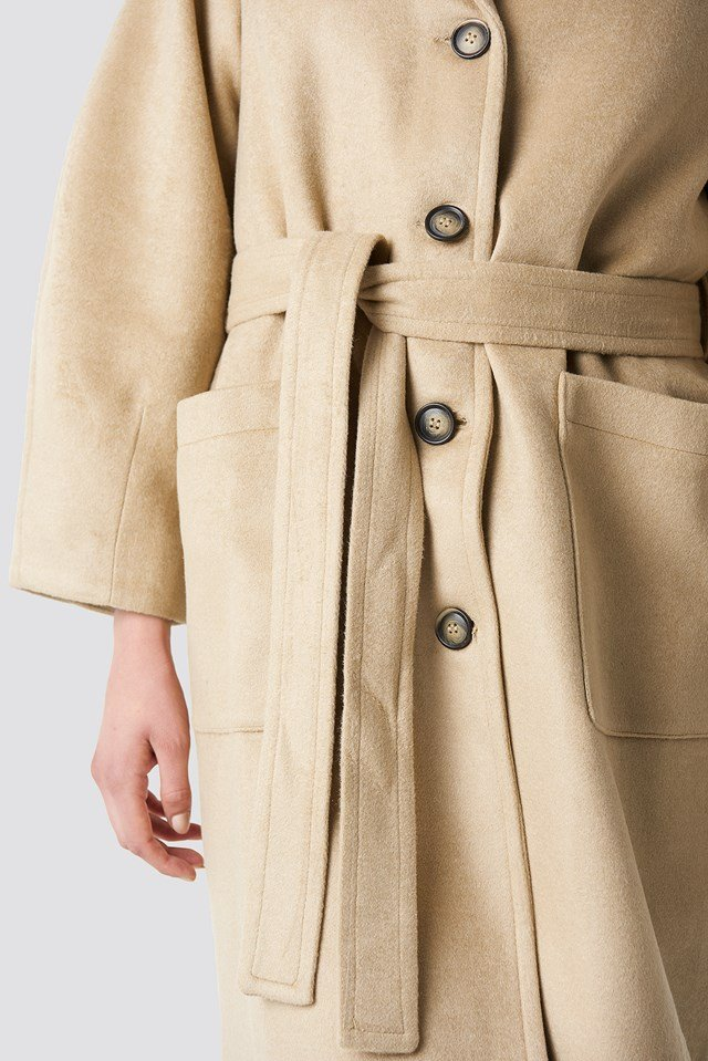Camel Button Detailed Coat Camel