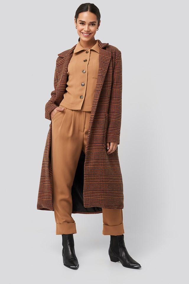 Camel Plaid Front Pocket Detailed Long Coat Trendyol