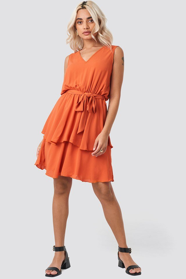 Carmen Belt Mini Dress Cinnamon