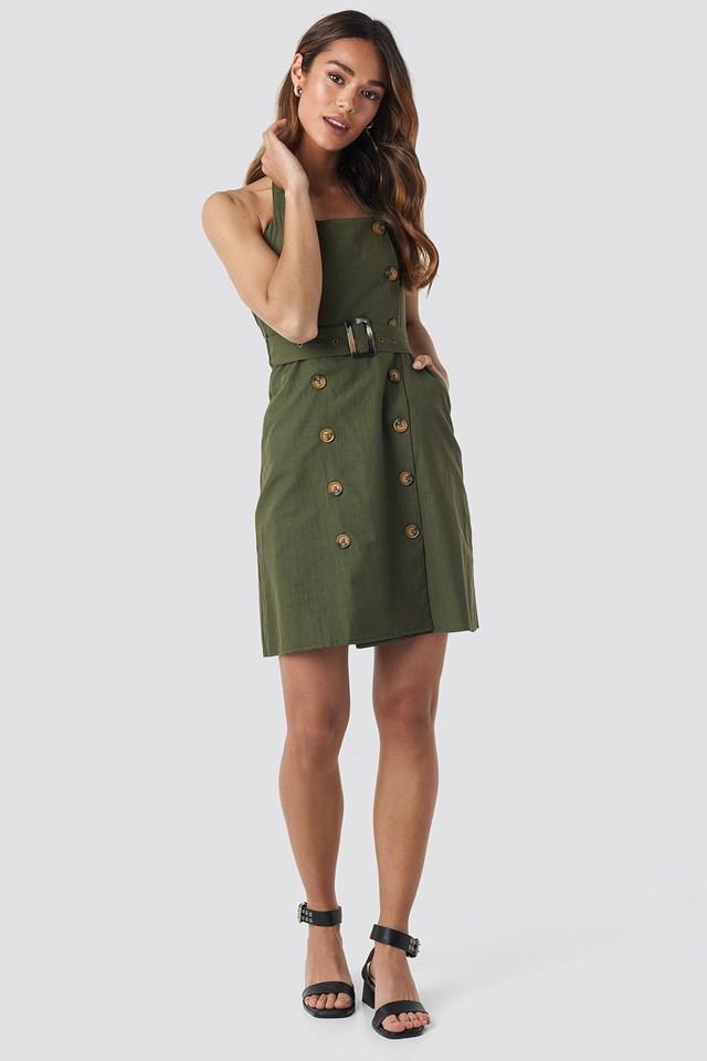 Carmen Button Detail Mini Dress Khaki