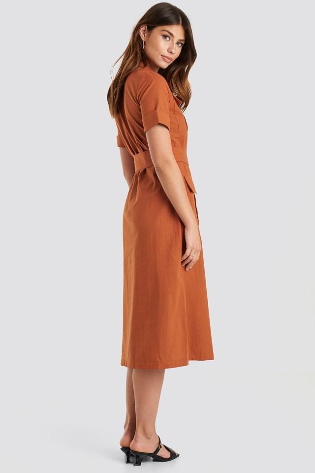 Buttoned Midi Dress Brick