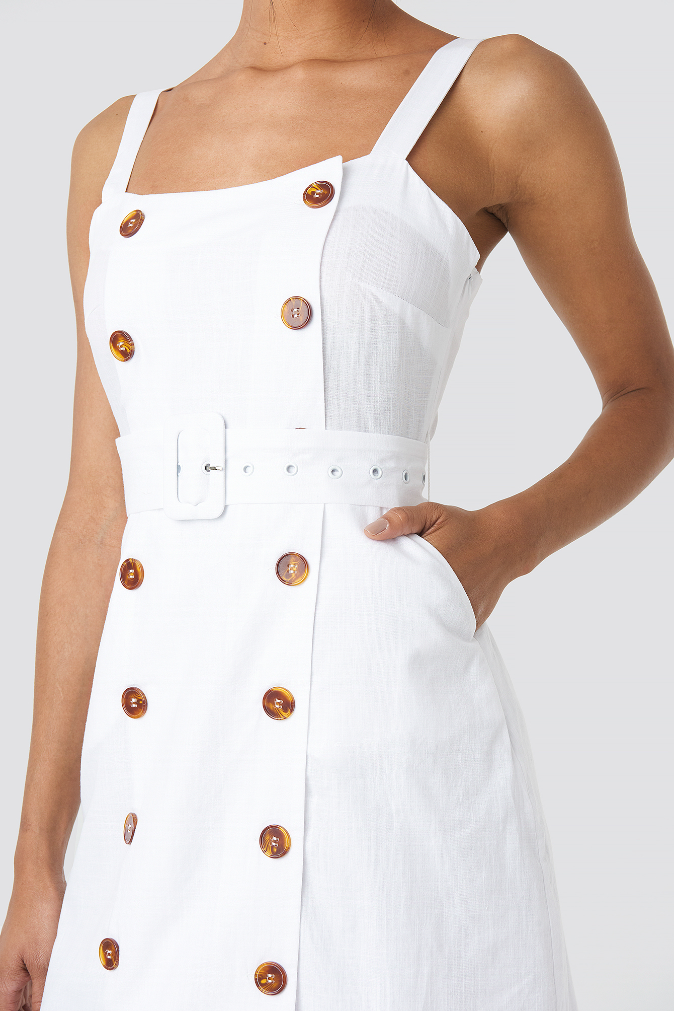 White Carmen Button Detail Mini Dress