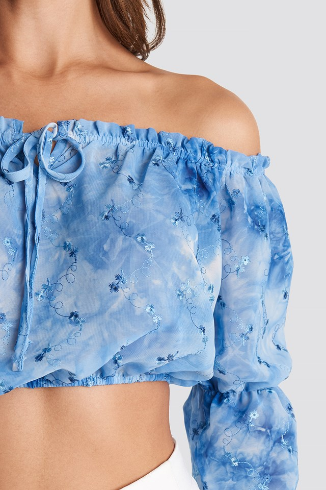 Carmen Collar Binding Crop Top Blue