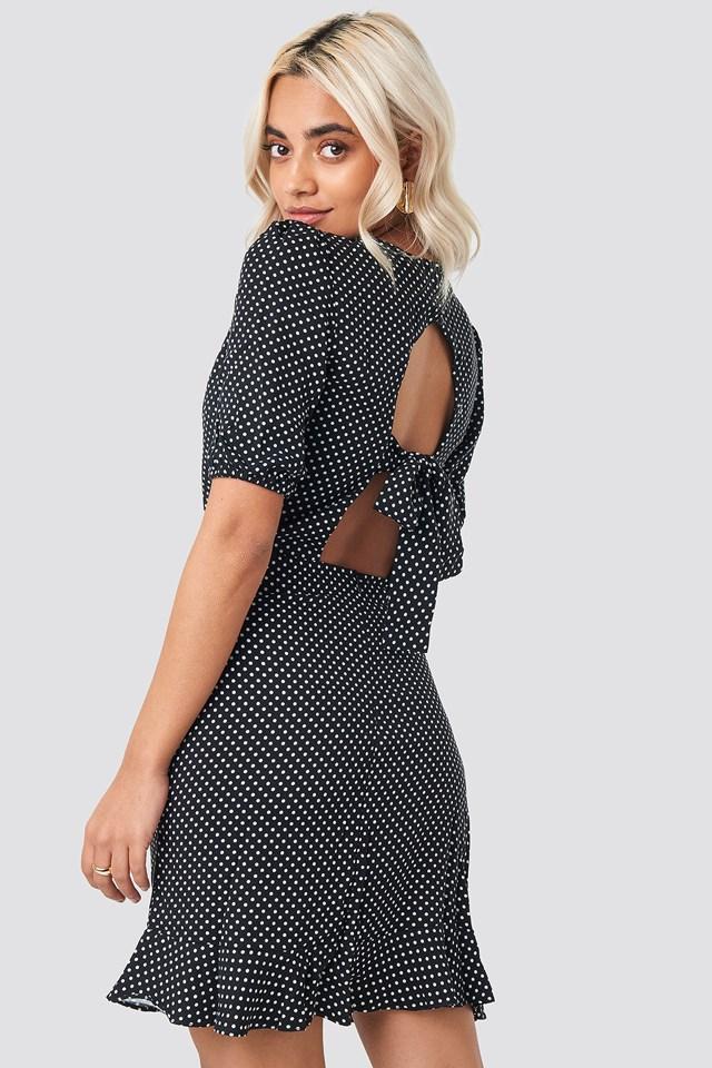 Carmen Dotted Mini Dress Black