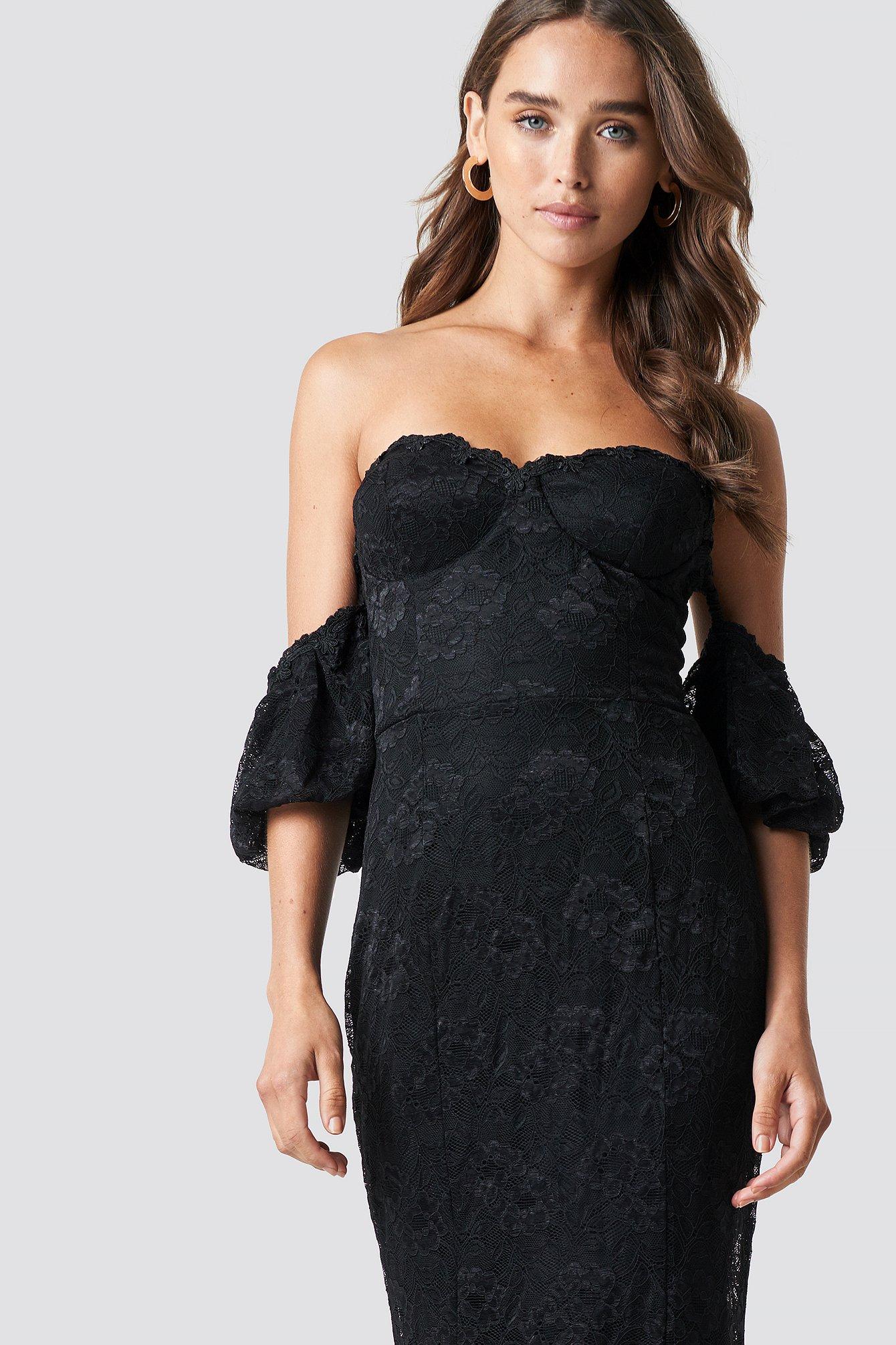 TRENDYOL CARMEN LACE MAXI DRESS - BLACK