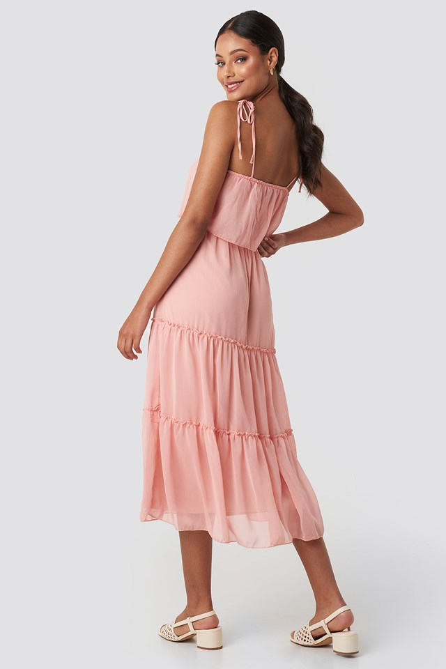 Carmen Neck Midi Dress Powder Pink