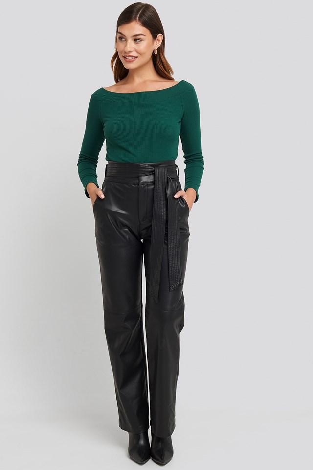 Carmen Neckline Knitted Top Green