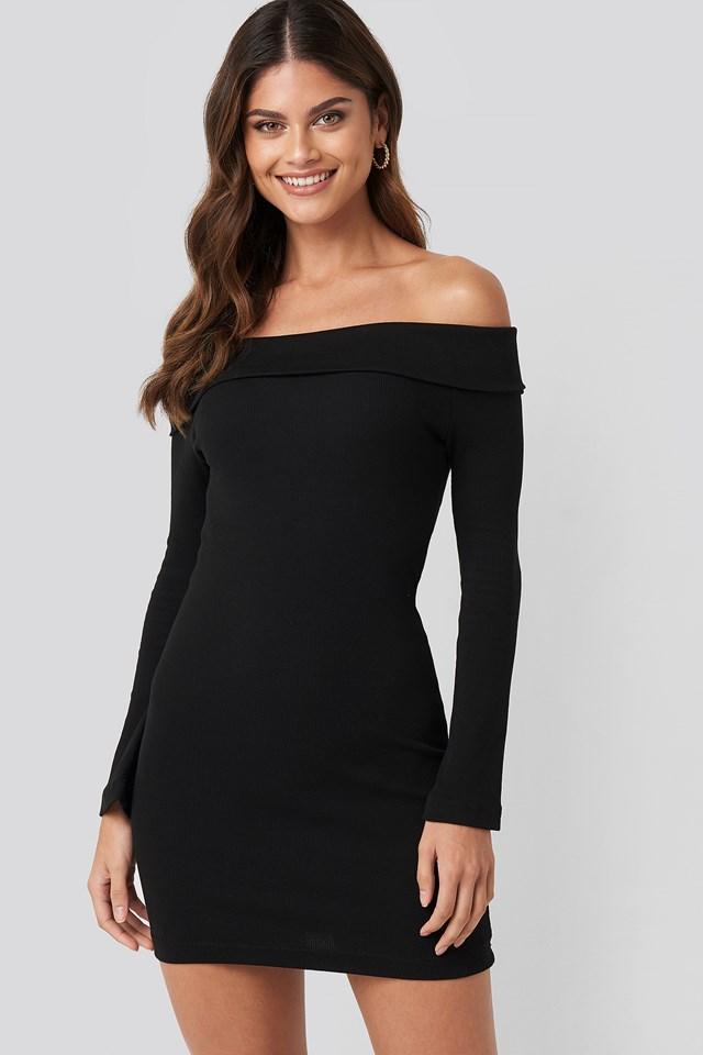 Carmen Neckline Mini Dress Black
