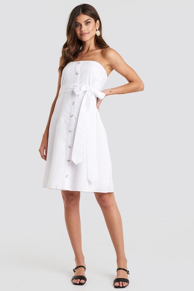 Carmen Straped Midi Dress White