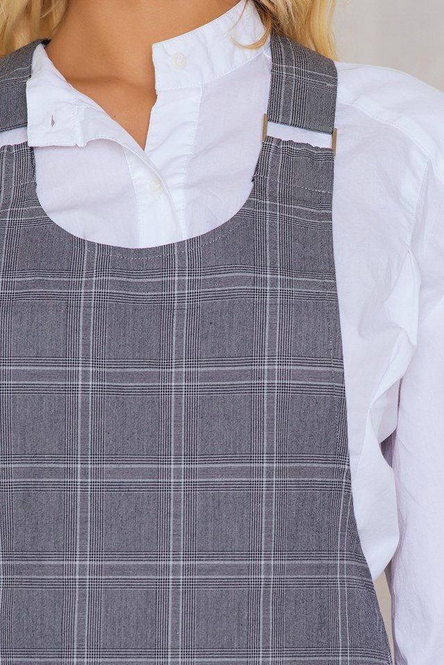 Checked Overall Dress Gray