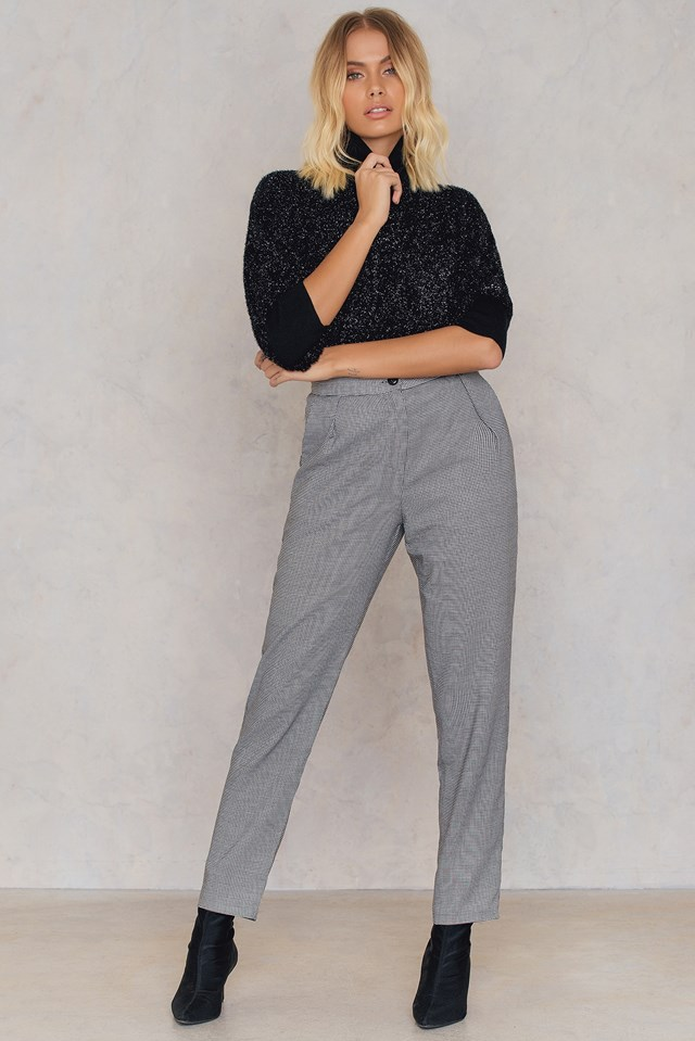 Checked Straight Pants Gray