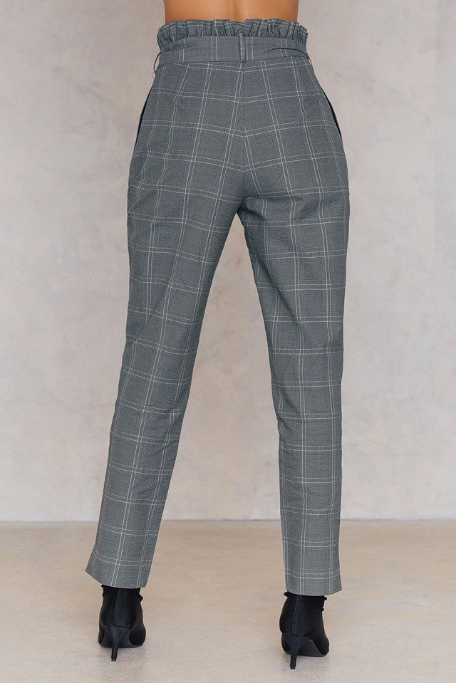Checked Tie Waist Pants NA-KD.COM