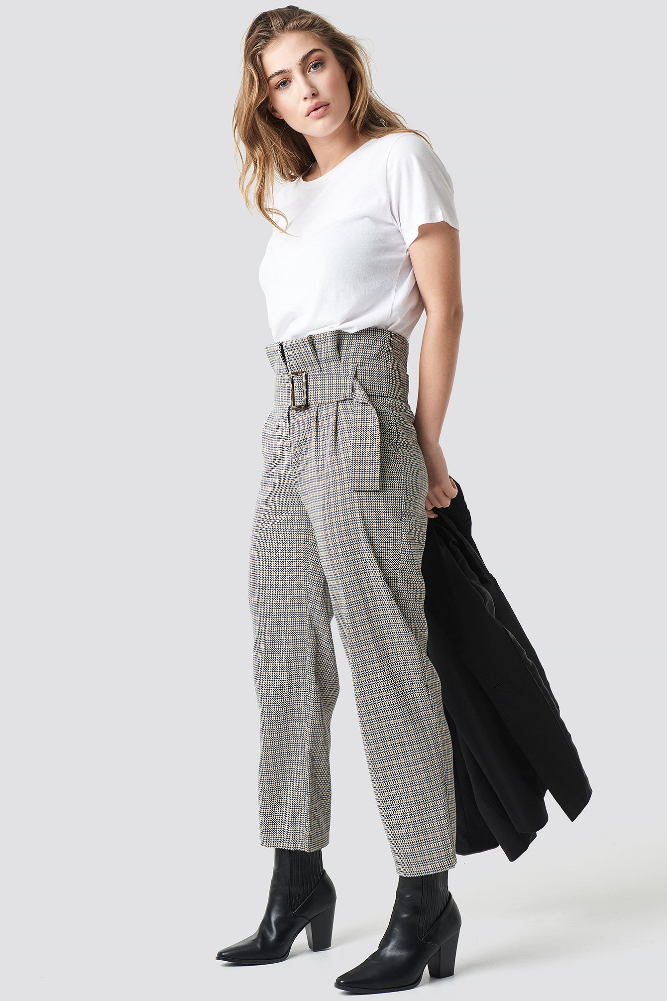 trendyol -  Checkered Belt Trousers - Grey,Multicolor