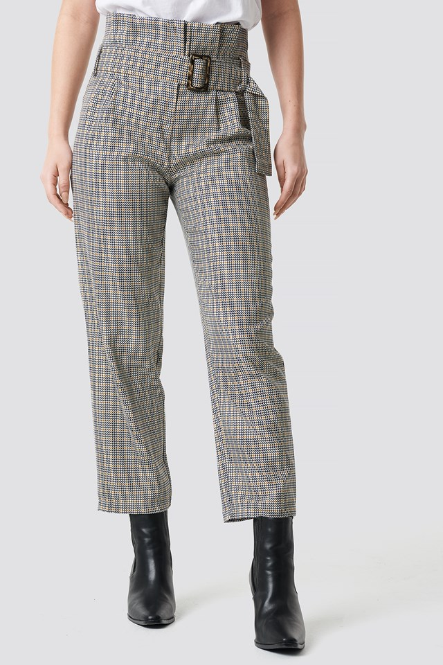 Checkered Belt Trousers NA-KD.COM