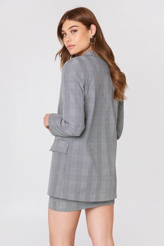 Checkered Blazer Gray