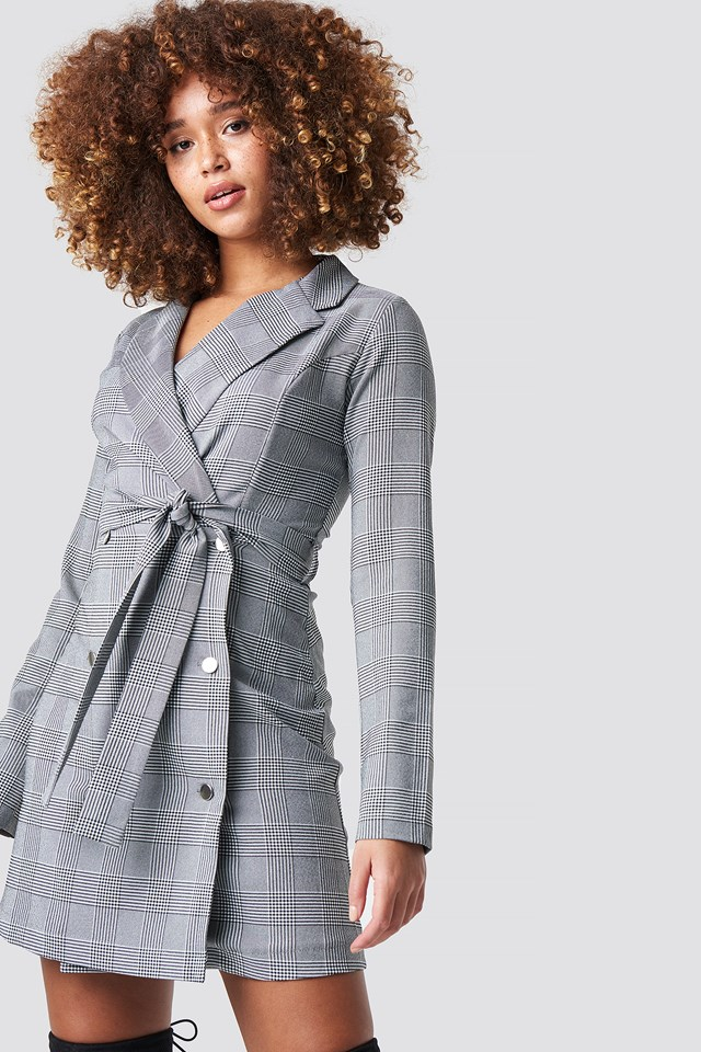 Checkered Jacket Mini Dress Trendyol