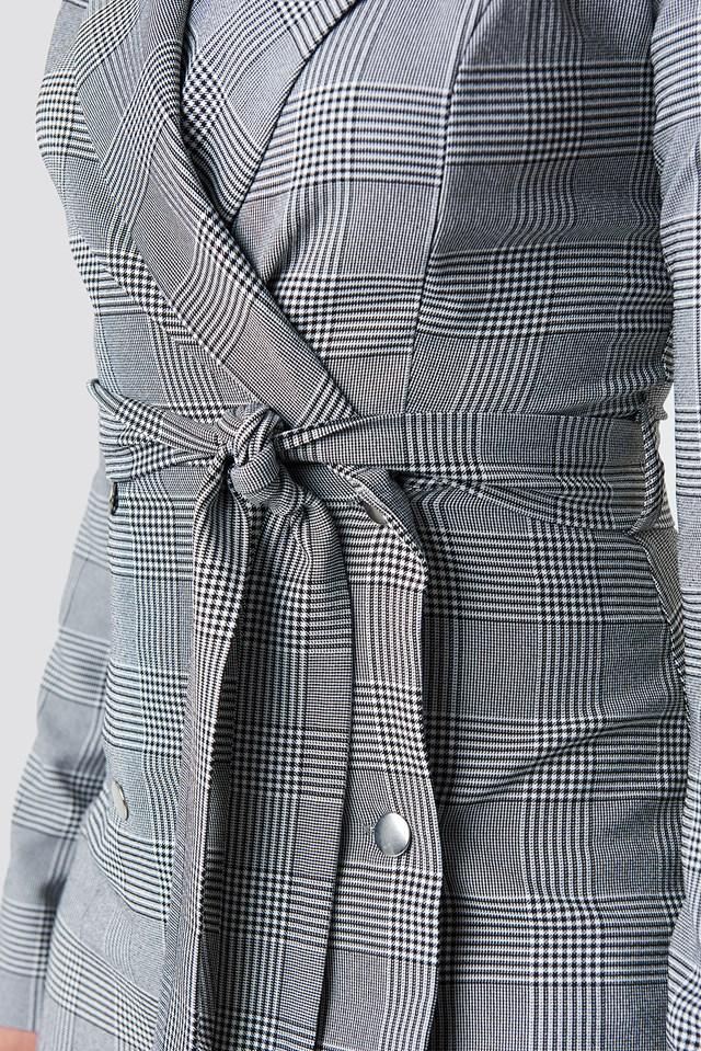 Checkered Jacket Mini Dress Gray