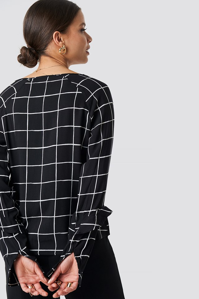 Checkered Knot Detail Blouse Black