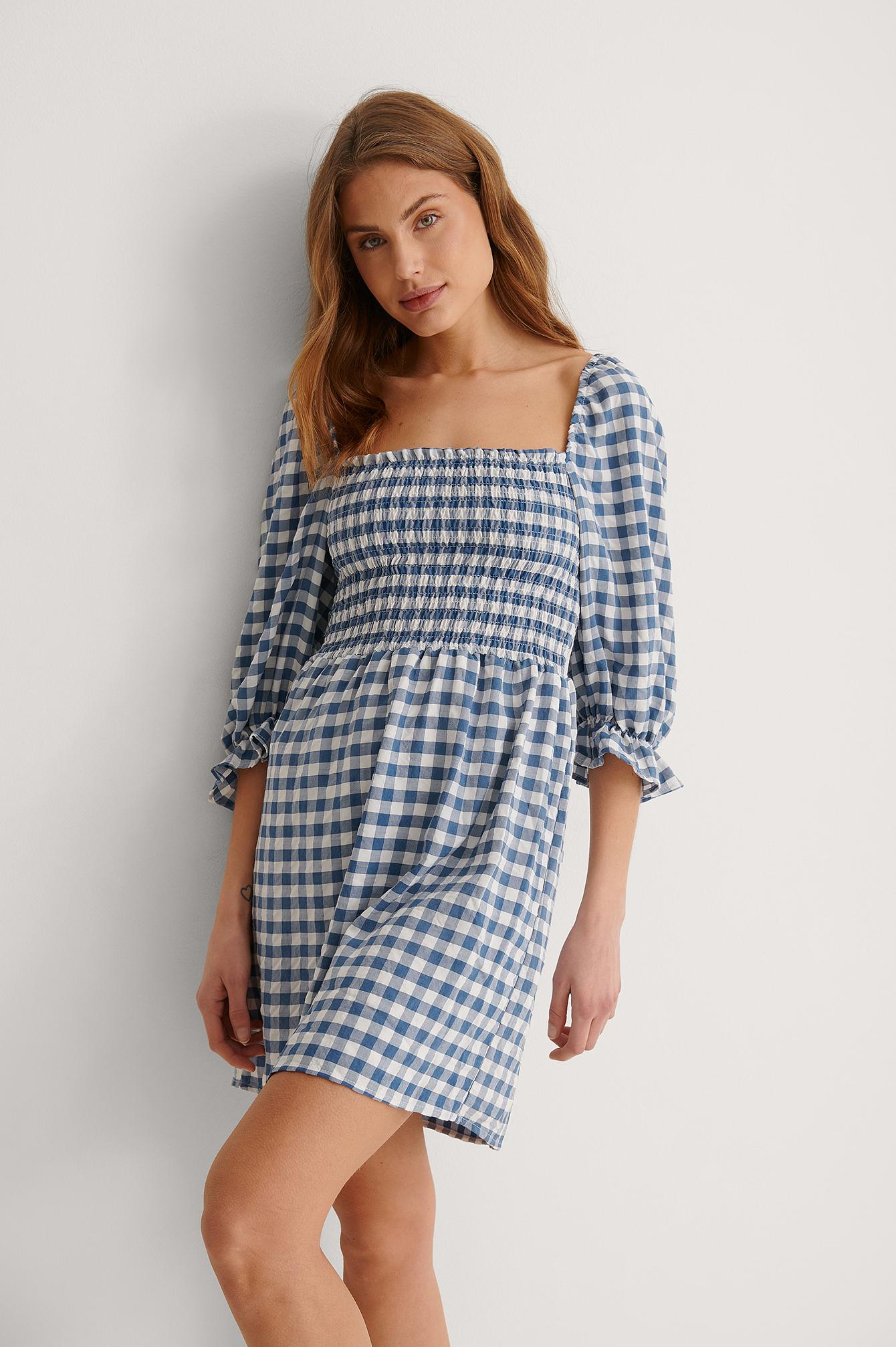 Trendyol Rutig Miniklänning - Blue
