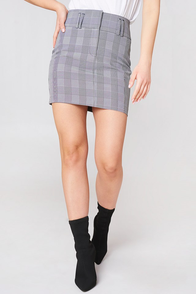 Checkered Mini Skirt Gray