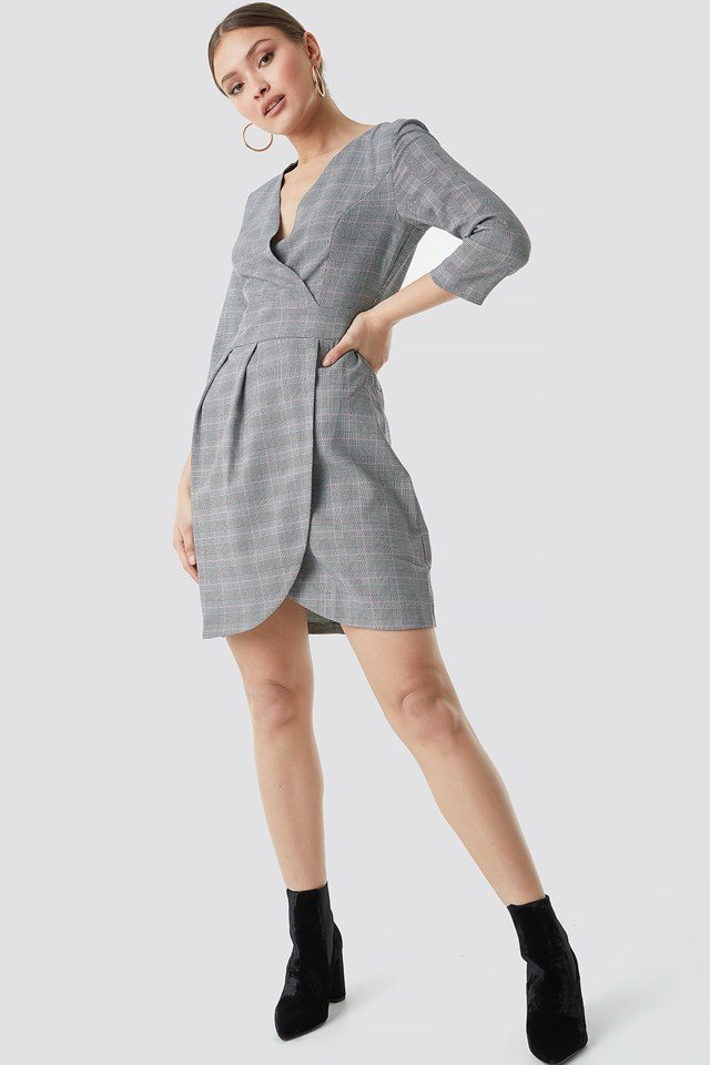 Checkered Tofa Dress Gray