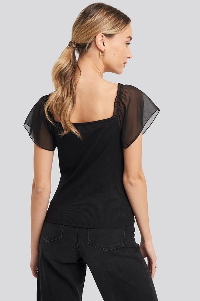Chiffon Detail Knitted Blouse Black