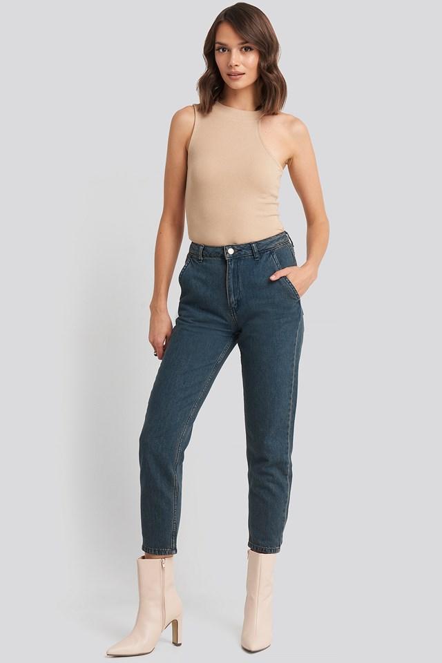 Chino Pocket High Waist Mom Jeans Anthracite