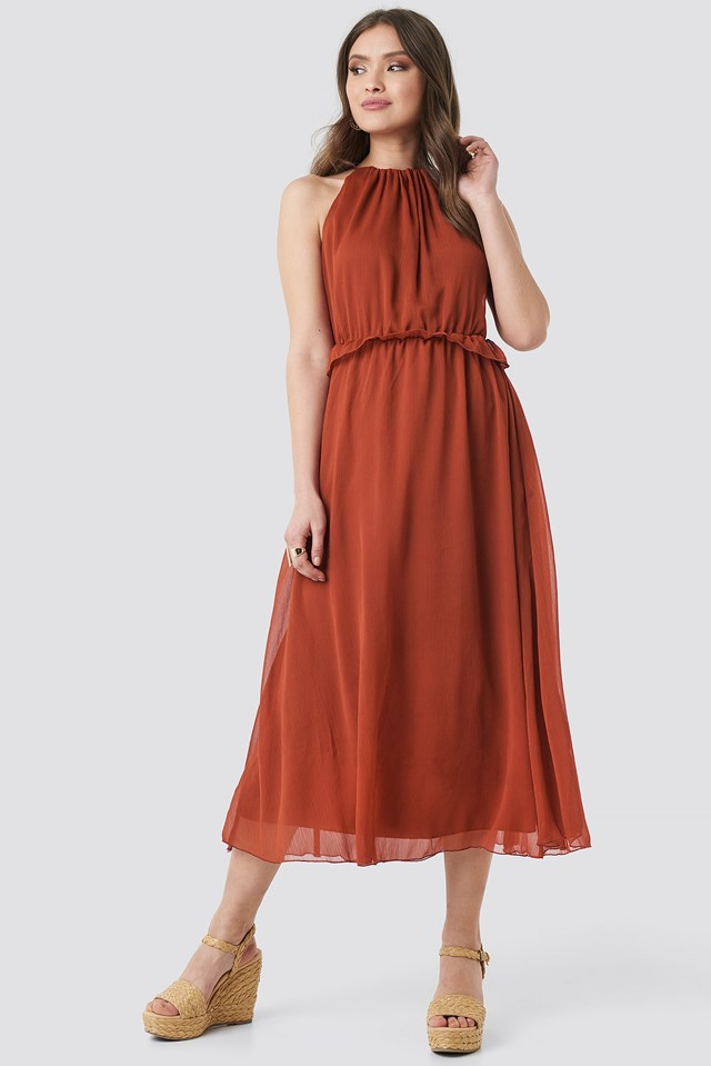 Cinnamon Waist Detail Long Dress Cinnamon