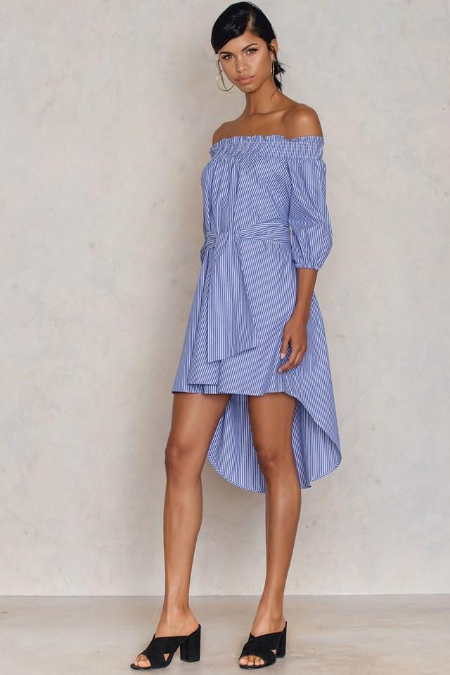 Cizgili Off Shoulder Dress Striped