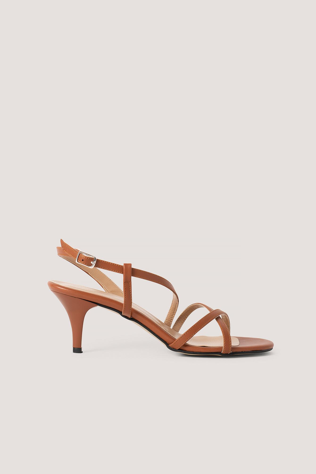 trendyol -  Classic Heel Strap Sandals - Brown