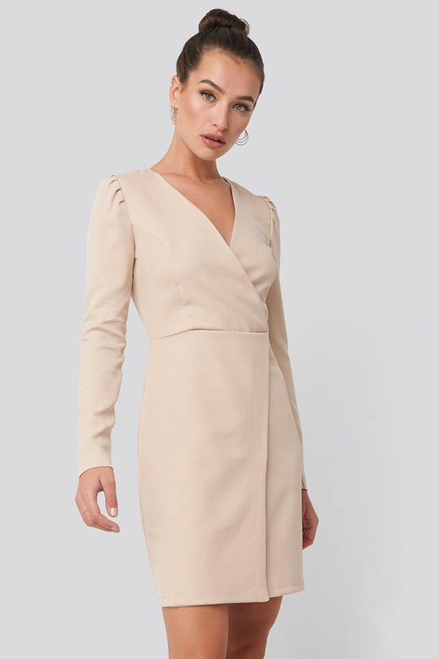 Classic Overlap Mini Dress Stone