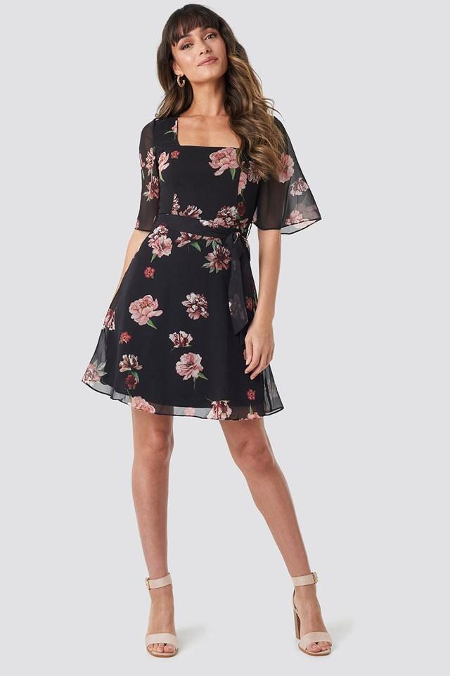 Cleo Flower Mini Dress Black