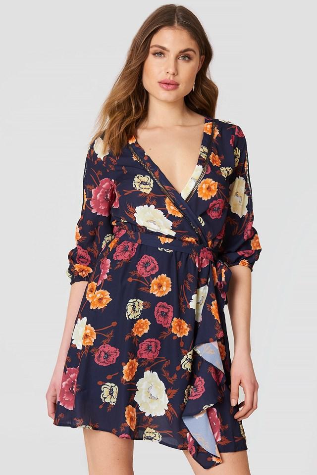 Cold Shoulder Floral Dress Multicolor